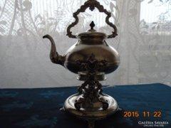 Antik osztrák impozáns ezüstözött barok teáskanna állvánnyal