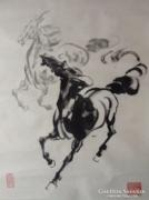 Kínai paripák, lovak tusfestmény akvarell  ló Lovas pecsét