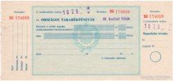Országos Takarékpénztár csekk - 197x