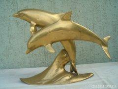 Antik réz delfin páros szobor