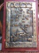 Kiss S.Budapest bronz relief-falikép jelz. Akció !