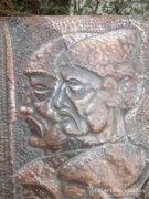 Szocreál dombormű-falikép v.réz 50x28 cm Akciós ár !