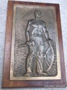 Búza Barna Munkás szocreál jelz.bronz falikép,relief Akció !