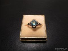 Régi kék köves aranyozott ezüst gyűrű
