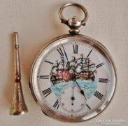 Ritka antik J.W.Benson hajós ezüst kulcsos zsebóra