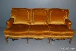 Barock stílusú   sárga bársony 3 üléses kanapé kedvező áron
