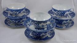 Kék tojáshéj porcelán keleti teás szett, teáskészlet