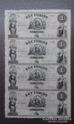 1852 1 Forint UNC kitöltetlen A,B,C,D ív