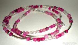 Achát ásvány és Swarovski kristály nyakék és karkötő-pink