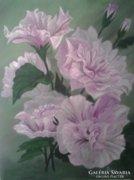 Rózsaszín mályva - csendélet, festmény