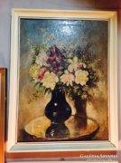 Csodás régi virágcsendélet olajfestmény, szignózott