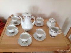 Hollóházi Holdfény 15 részes teáskészlet platina csíkkal