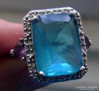 Ezüst gyűrű kék topáz, ametiszt és cirkónia kövekkel