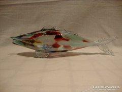 Színes retro üveg hal szobor , dísztárgy