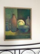Régi nagy méretű olaj festmény csendélet Sebesta