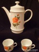 2 személyes sárga rózsás kávés készlet