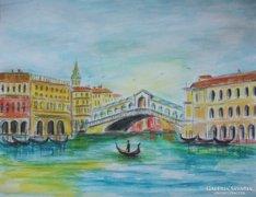 Velence - Rialto-híd -újdonság -eredeti festmény