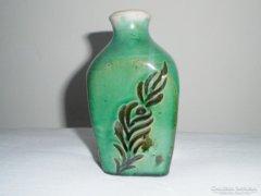 Antik népi kerámia butella butykos - 11.6 cm magas