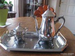 Angol barokk teáskanna és cukortartó tálcával