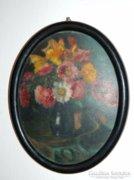Antik jelzett ovális olaj festmény - virágcsendélet
