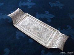 Perzsa ezüst-berakásos ghalam zani tálca
