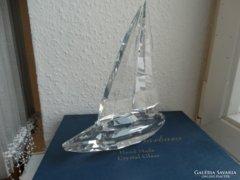 Vitorláshajó, nagyon szép hántolt ólomkristály üveg