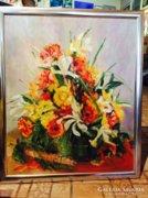 Gyönyörű virágcsendélet festmény Móricz szignóval