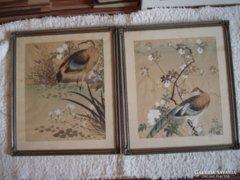 Távol keleti madaras akvarell szép keretben párban