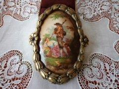 Antik porcelán miniatúra kép_bútorveret..
