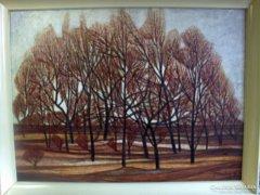 Fontos Sándor : Nyárfák c. festménye
