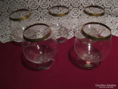5 db  aranyozott szélű konyakos pohár