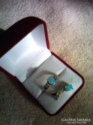 ANYÁKNAPRA! Kék opállal,cirkóniával ezüst gyűrű és medál