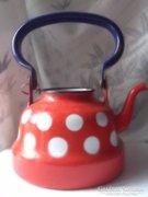 Zománc teáskanna piros pöttyös retro szép állapot