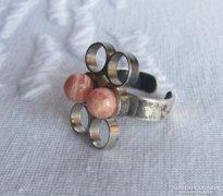 Skandináv modernista ezüst gyűrű rodokrozittal