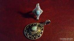 Csodaszép  925-ös ezüst gyűrű és medál  Larimar kővel
