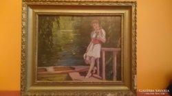Illencz Lipót 1882-1950.  Lány a parton.