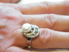 Igazgyöngy gyűrű,925-ös ezüst,18 kar arannyal bevonva.