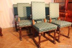 Zöld kárpitozású antik ónémet székek 8db !