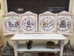 Provence bútor, antikolt fehér fali óra.