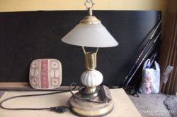 Antik asztali lámpa kerámia és réz ötvözetű talppal eladó!