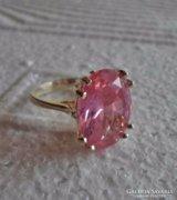 Ezüstgyűrű szép nagy rózsaszín topázzal