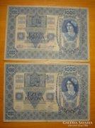 *** 2 db nem DÖ bélyegzett 1902-as 1000 korona ***