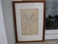 Szabó Vladimir ceruzarajz, három alakos vázlat