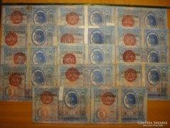 *** 14 db MAGYAR bélyegzett 1912 es 100 korona !!  ***