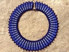 Kék színátmenetes dekoratív gyöngyékszer nyakék