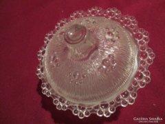 Gyöngy mintás üveg bongonier cukortartó
