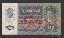 10 korona 1915.  (bélyegzés nélkül), RITKA !!! UNC !!!