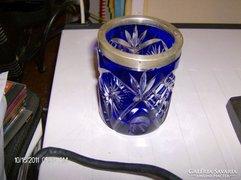Antik kristaly vaza ezust peremel