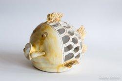Kerámia hal mécsestartó iparművész retro szignózott