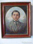 Bájos fiú portré olaj-vászon